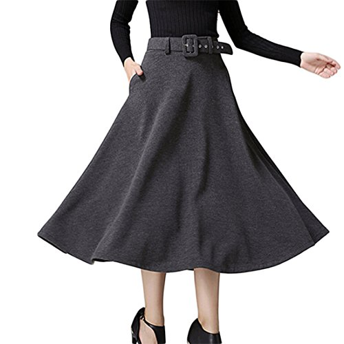 GWELL Femme Jupe Patineuse Genoux en Laine Taille Haute + Ceinture Gris