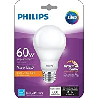Philips 40W Equivalent Soft White (2200K - 2700K) A19 Dimmable LED 455741 warm glow Light Effect Light Bulb