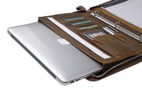 Rustic Leather Laptop Portfolio Padfolio with 3-Ring Binder for Letter A4 Paper, 13-inch MacBook Air/Surface Book by iCarryAlls (Image #4)