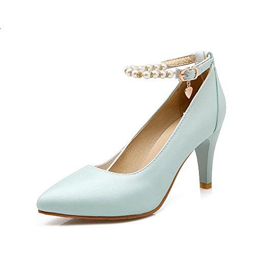 VogueZone009 Damen Blend-Materialien Schnalle Spitz Zehe Stiletto Rein Pumps Schuhe See Blau