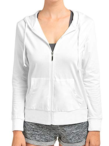 Women's Lightweight Cotton Blend Long Sleeve Zip Up Thin Hoodie Jacket (White, Small)
