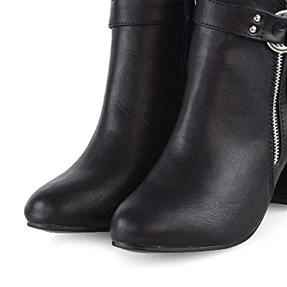ESSEX GLAM Womens Ankle Boots Block Low Mid Heel Ladies Zip Buckle Strap Smart Booties Shoes 2