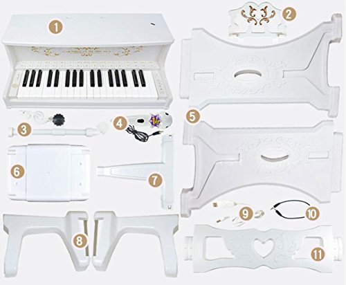 QXMEI 37-Key Piano Keyboard Premium Keyboard with Microphone Headphones Children Piano (Pink White),White by QXMEI (Image #1)