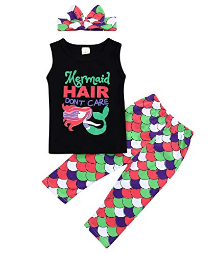 Mermaid Toddler Little Girls Outfit Set T-Shirt Tops Pants with Headband Outfit Clothing Sets (2-3 Years, Mermaid) ()