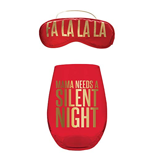 20oz Stemless Red Wine Glass and Eye Mask Set, Mama Needs A Silent Night. Christmas Set