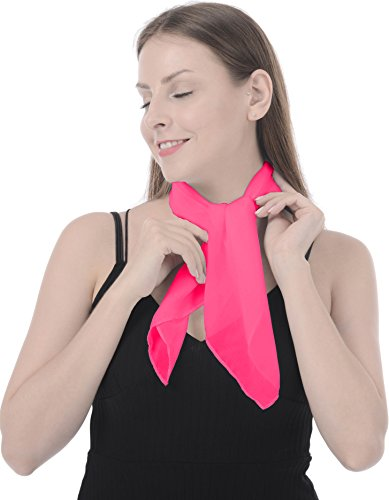 Sheer Scarf Head Neck Square Scarf Women Girls Scarves Wrap Neckerchief Fashion Rose red