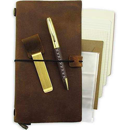 Refillable Leather Journal Refillable Travelers Notebook for Men Leather Travel Journal for Women Vintage Antique Travel Diary TN Genuine Standard Notebook + Pen + 3 Papers Notes Sketching Drawing