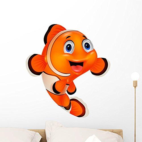 Cartoon Clown Fish Wall Decal by Wallmonkeys Peel and Stick Animal Graphics (24 in H x 22 in W) WM368789 - Clown Fish Wall