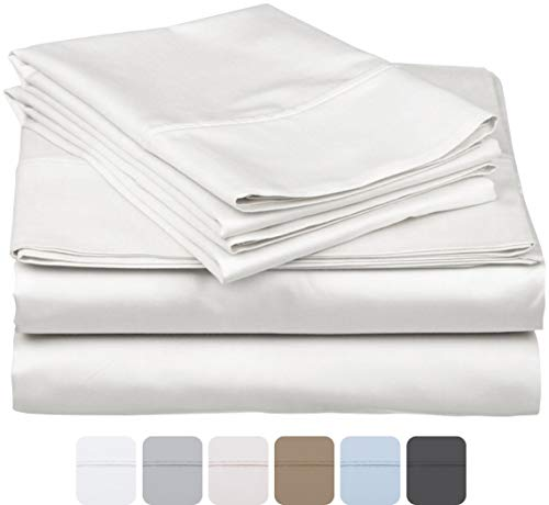 600 Thread Count 100% Long Staple Soft Egyptian Cotton SheetSet, 4 Piece Set, KING SHEETS,upto 17″ Deep Pocket, Smooth & Soft Sateen Weave, Deep Pocket, Luxury Hotel Collection Bedding, WHITE