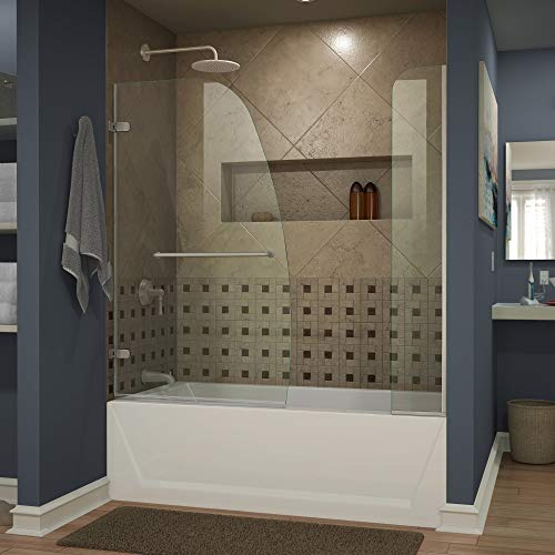 DreamLine Aqua Uno 56-60 in. W x 58 in. H Frameless Hinged Tub Door with Extender Panel in Brushed Nickel, SHDR-3534586-EX-04