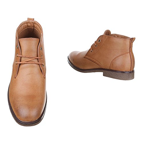 ... Stiefeletten Herren Schuhe Desert Boots Blockabsatz Moderne  Schnürsenkel Ital-Design Boots Camel 5606fa5e25