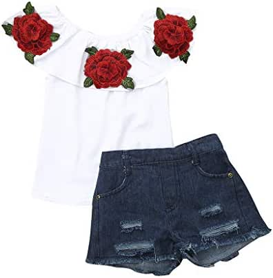 Cuekondy 1-5 Years Old Toddler Baby Girls Kids Off Shoulder Rose Tops Jeans Denim Pants 2019 Summer Clothes Outfits
