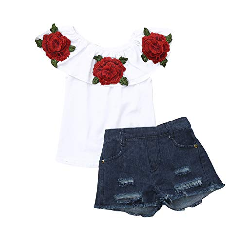 Zohto Big Promotion:Romper Jumpsuit Baby Girl,Summer and Spring Toddler Kids Baby Girls Outfits Flower Rose Tops Denim Shorts Pants Clothes Set