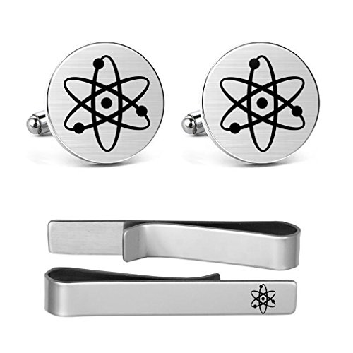 MUEEU Atom Cufflinks Engraved Atom Atomic Symbol Hand Made Scientist Chemistry Wedding Tie Clip Bar