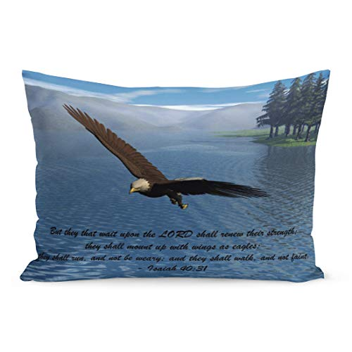 Aikul Throw Pillow Cover Bald Eagle with Scripture Lake Mountains Pines Trees Pillow Case Cushion Cover Lumbar Pillowcase Decoration for Couch Sofa Bed Car, Standard Size 20 x 26 inchs