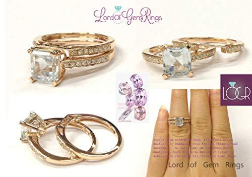 Asscher Aquamarine Ring Bridal Set Contour Diamond Band 14K Rose Gold 6.5mm