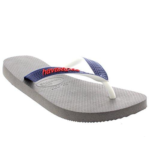 Damen Havaianas Top Mix Lässig Strand Sommer Urlaub Flip Flops Sandalen Grau/Marine