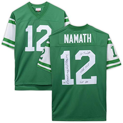 Joe Namath New York Jets Autographed Green Mitchell & Ness Replica Jersey with Multiple Inscriptions - Limited Edition #12 of 12 - Fanatics Authentic Certified ()