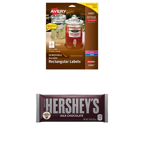 Customize Your Candy Bundle: Hershey's Milk Chocolate Bar 1.55 Ounce (Pack of 36) and Avery Rectangular Labels