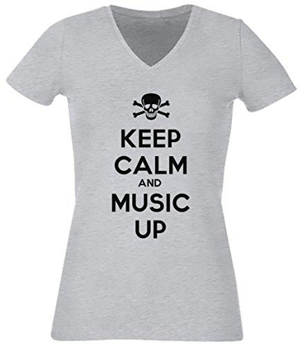 Keep Calm And Music Up Gris Coton Femme V-Col T-shirt Manches Courtes Grey Women's V-neck T-shirt