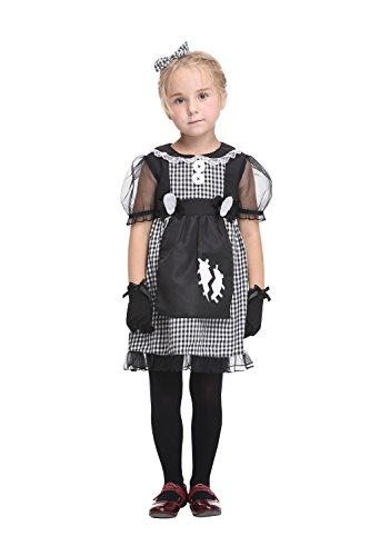 [Girlscos Girl's Maid Costume Dress 3 Piece Suit Kids Halloween Cosplay Costumes Medium Black] (Tutu Costume Ideas For Toddlers)
