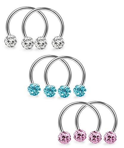 LOYALLOOK 6 pcs 16G Stainless Steel Crystal Body Jewelry Piercing Nose Septum Horseshoe Hoop Earring Eyebrow Tragus Lip Piercing Ring 8mm by LOYALLOOK