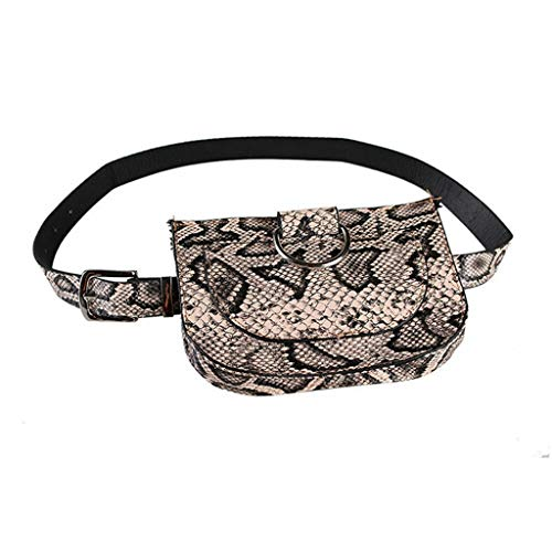 Multifunction Women Fashion Faux Leather Serpentine Fanny Pack Belt Bag Ladies Snake Skin Print Waist Pack