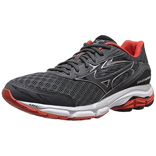 Mens Wave Catalyst Running Shoe, Black/Silver, 7 D US Mizuno