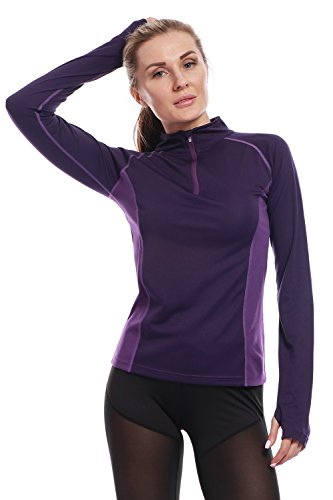 AmeSport Womens Workout Track Jacket Half Zipper Pullover Long Sleeve Yoga Running Shirt with Thumb Hole - One Size up