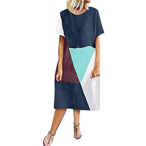 Witspace Women Vintage Bohemian Splicing Short Sleeve O-Neck Plus Size Maxi Dress Blue