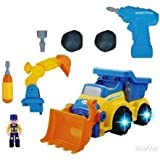 WolVol 3-in-1 Construction Bulldozer Dump Excavator Take-A-Part Truck Toy with Drill and Tools, Lights and Music, Bump and Go Action
