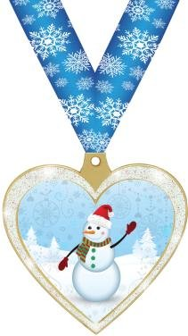 HOLIDAY AWARDS - 2.5'' Glitter Heart Snowman Medal 50 Pack by Crown Awards