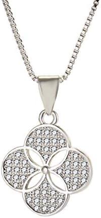 Colgante De Diamantes Completos, Collar De Trébol con Cadena De Manga Suéter Plateado Collar Plateado