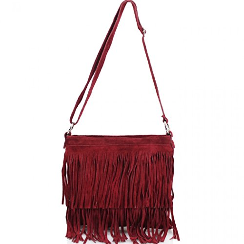 Women's Shoulder Crossbody LeahWard Leather Tassle Burgundy Bag 12 Real Handbags fwHHqdCO