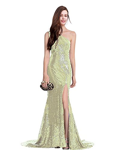 NOVIA Womens Long One-Shoulder Sequined Wedding Prom Dresses Side Slit Formal Party Gown Light Gold 12