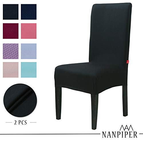 NANPIPER Chair Covers for Dining Room Set of 2 Black Spandex Stretch Dining Chair Slipcovers