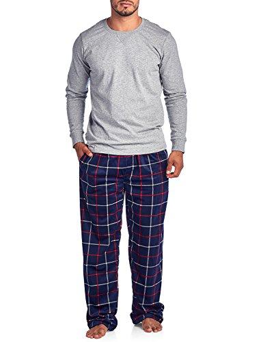 (Ashford & Brooks Men's Jersey Knit Long-Sleeve Top and Mink Fleece Bottom Pajama Set - Navy/Red Windowpane - Medium)