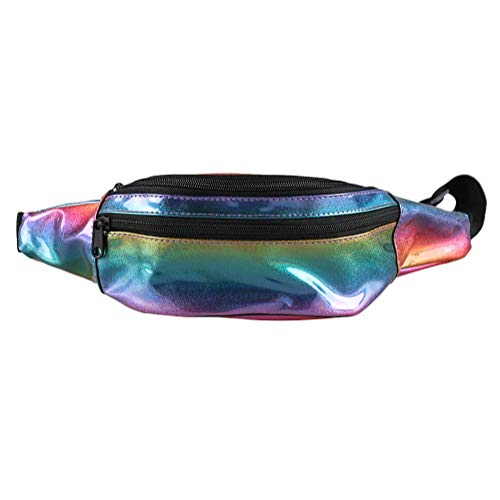 Holographic Waist Fashion Glitter Fanny Pack for Women and Men Waterproof Travel Packs Bum Purse Bags Rave, Festival, Hiking Rainbow1