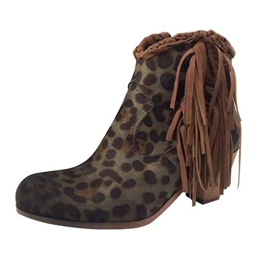 ffb1ca9abfe Fringe Ankle Boot,Kauneus Womens Vintage Leopard Chunky High Heel Plus Size  Tassel Short Boot Western Cowboy Bootie Green