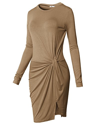 H2H Women Casual Round Neck Knotted Front Low-High Jersey Dress Taupe US L/Asia L (CWDSD0150) ()