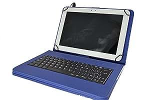 """theoutlettablet® Funda con teclado extraíble en español (incluye letra Ñ) para Tablet Prixton T1500 10.1"""" - Color AZUL"""