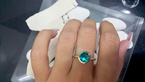 Blue Apatite Ring, Gold Filled Ring, Gemstone Ring, Hammered Gold Ring,Round Bezel Ring,Wedding Gift,Bridal Jewelry ()