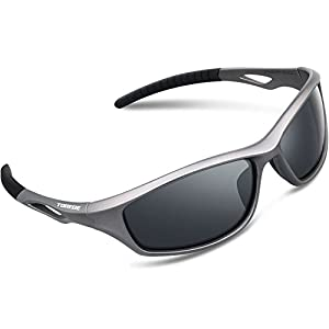 Torege Polarized Sports Sunglasses For Men Women For Cycling Running Fishing Golf TR90 Unbreakable Frame TR010-1 (Grey&Black Tips&Grey lens)