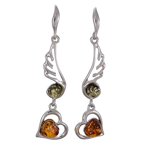 Baltic Multicolored Amber Dangling Earrings