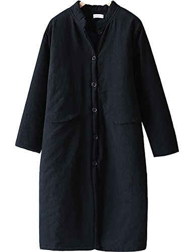 Single Breasted Quilted Jacket - IDEALSANXUN Womens Retro Thick Cotton Linen Mid-Long Padded Coat Puffer Quilted Jacket (#2 Black, Medium)