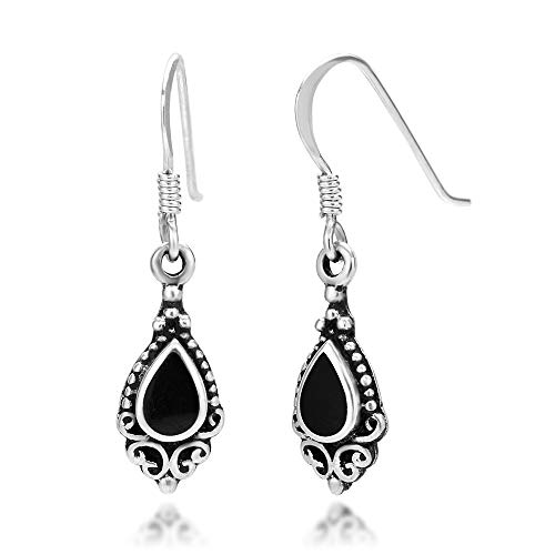 925 Sterling Silver Bali Inspired Black Onyx Gemstone Black Filigree Dangle Hook Earrings