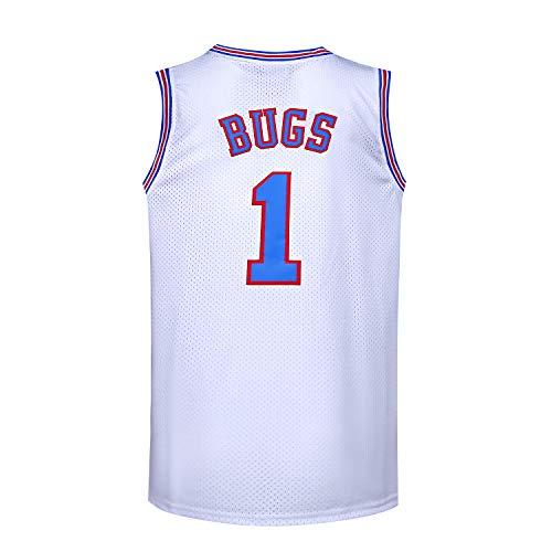 JOLI SPORT Bugs 1 Space Men's Movie Jersey Basketball Jersey S-XXXL White -