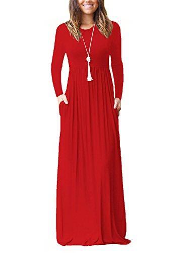 lunga trapezio Abito Dasbayla donna Rosso manica a qwTHHI6