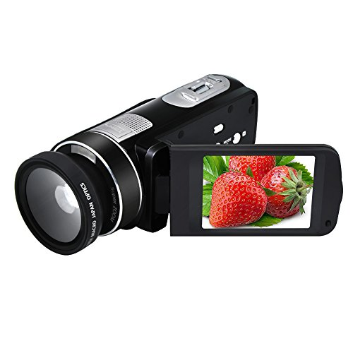 Camcorder Video Camera Full HD 1080P 24.0MP Digital Camera 18x Digital Zoom 2.7″ LCD with Wide Angle Close-up Lens