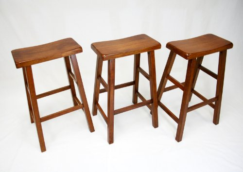 eHemco 29'' Heavy Duty Saddle Seat Bar Stool in Dark Oak, Set of 3 by eHemco